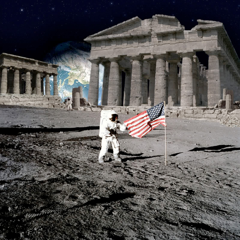 Astronaut On Moon by the American Flag - Pics about space